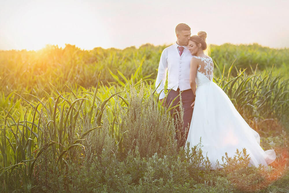 Evening sunset session with the bride and groom at a wedding at Parley Manor, Christchurch.