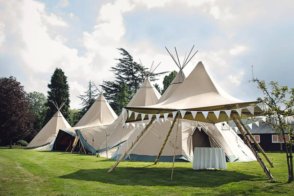 Teepees set up for a beautiful humanistic 1920s wedding in Henfield Sussex.