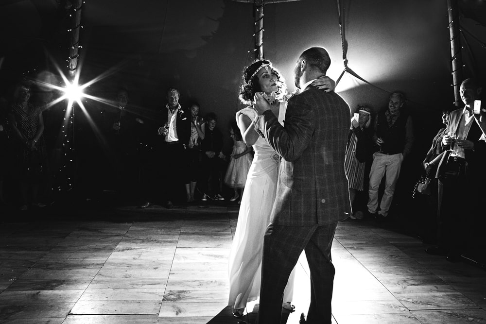 The couple dances at a beautiful humanistic 1920s wedding in Henfield Sussex.